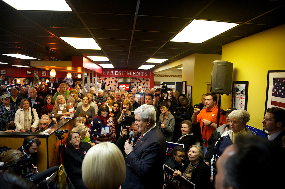 Republican Presidential candidate NEWT GINGRICH speaks at Whitefords on the day of the South Carolina primary.