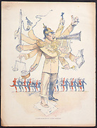 Wilhelm II, Emperor of Germany depicted as a one-man orchestra conducting the affairs of Europe. Cartoon from 'Le Rire', Paris.  After his dismissal of his chancellor, Bismarck, in 1890, he saw himself as the dominant power in Europe.