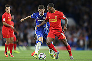 Oscar of Chelsea intercepting Georginio Wijnaldum of Liverpool. Premier league match, Chelsea v Liverpool at Stamford Bridge in London on Friday 16th September 2016.<br /> pic by John Patrick Fletcher, Andrew Orchard sports photography.