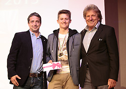 02.10.2015, Nussdorf Gebannt, AUT, Empfang für UCI Juniorenweltmeister Felix Gall, im Bild Rundfahrtsdirektor Wolfgang Weiss, UCI Juniorenweltmeister Felix Gall, ÖRV Präsident Otto Flum // during the official reception for the UCI Junior World Champion Felix Gall in his home town. Nussdorf Decant, Austria on 2015/10/02. EXPA Pictures © 2015, PhotoCredit: EXPA/ Johann Groder