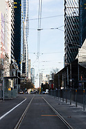 The view down an empty Spencer Street this afternoon in Melbourne after lockdown was extended for another 7 days on the day it enters 6th day of the state wide COVID-19 lockdown that has been placed on the State of Victoria. (Photo by Michael Currie/Speed Media)