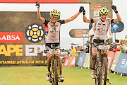 Sally Bigham and Ester Suss of Team Meerendal take the ladies leader jersies after confidently winning stage 1 of the 2014 Absa Cape Epic Mountain Bike stage race held from Arabella Wines in Robertson, South Africa on the 24 March 2014<br /> <br /> Photo by Greg Beadle/Cape Epic/SPORTZPICS