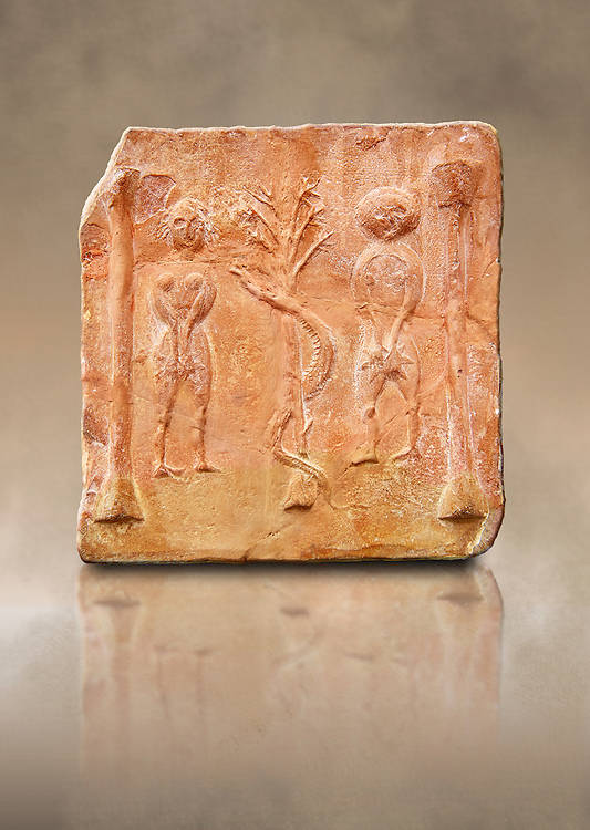 6th-7th Century Eastern Roman Byzantine  Christian Terracotta tiles depicting Adam & Eve with a serpent wrapped around a tree between them - Produced in Byzacena -  present day Tunisia. <br /> <br /> These early Christian terracotta tiles were mass produced thanks to moulds. Their quadrangular, square or rectangular shape as well as the standardised sizes in use in the different regions were determined by their architectonic function and were designed to facilitate their assembly according to various combinations to decorate large flat surfaces of walls or ceilings. <br /> <br /> Byzacena stood out for its use of biblical and hagiographic themes and a richer variety of animals, birds and roses. Some deer and lions were obviously inspired from Zeugitana prototypes attesting to the pre-existence of this province's production with respect to that of Byzacena. The rules governing this art are similar to those that applied to late Roman and Christian art with, in the case of Byzacena, an obvious popular connotation. Its distinguishing features are flatness, a predilection for symmetrical compositions, frontal and lateral representations, the absence of tridimensional attitudes and the naivety of some details (large eyes, pointed chins). Mass production enabled this type of decoration to be widely used at little cost and it played a role as ideograms and for teaching catechism through pictures. Painting, now often faded, enhanced motifs in relief or enriched them with additional details to break their repetitive monotony.<br /> <br /> The Bardo National Museum Tunis, Tunisia
