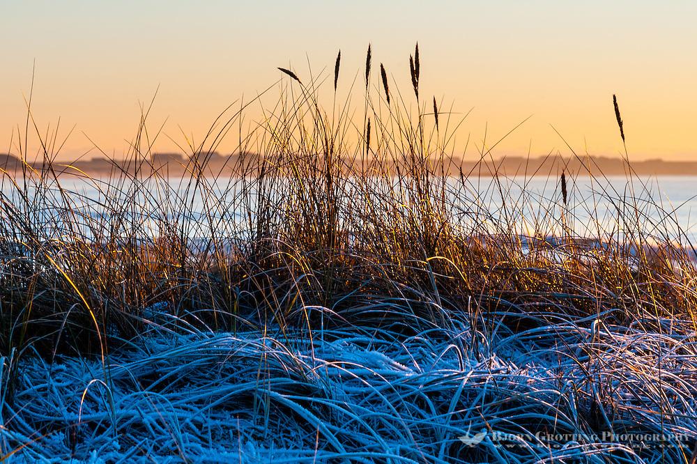 Norway, Rogaland. Sunset at Selestranda beach  in the winter.