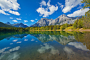 Mt. Kidd  and the Canadian Rocky Mountaisn reflected in Wedge Pond<br />Kananaskis Coutnry<br />Alberta<br />Canada