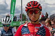 Coryn Rivera (USA) on the start line for stage 2 of the OVO Energy Women's Tour 2019 at Cyclopark, Gravesend, United Kingdom on 11 June 2019.