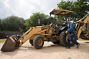 WEST, TEXAS - APRIL 17:  Jake Sulak prepares to dig a grave at the St Mary's Catholic Cemetery in West, Texas on April 17, 2017. (Photo by Cooper Neill for The Washington Post)