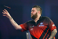 Michael Smith with the darts during the 2019 William Hill World Darts Championship Final at Alexandra Palace, London, United Kingdom on 1 January 2019.
