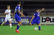 AFC Wimbledon midfielder Dean Parrett (18) strikes on goal during the EFL Trophy match between AFC Wimbledon and U23 Swansea City at the Cherry Red Records Stadium, Kingston, England on 30 August 2016. Photo by Stuart Butcher.