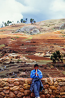 Man playing flute, Chinchero, Sacred Valley of the Incas, Peru