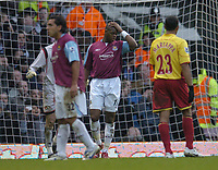 Photo: Olly Greenwood.<br />West Ham United v Watford. The Barclays Premiership. 10/02/2007. Wset Ham's Marlon Harewood looks dejected after seeing his penalty saved