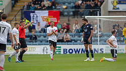 Dundee's Scofian Moussa gets a red card after tackling Ayr United's Mark Kerr. Dundee 0 v 3 Ayr United, Scottish League Cup Second Round, played 18/8/2018 at the Kilmac Stadium at Dens Park, Scotland.