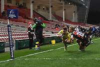 Rugby Union - 2020 / 2021 European Rugby Heineken Champions Cup - Round of 16 - Gloucester vs La Rochelle - Kingsholm<br /> <br /> La Rochelle's Jules Favre scores his sides second try.<br /> <br /> COLORSPORT/ASHLEY WESTERN