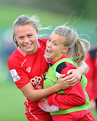 Claire Emslie and Olivia Fergusson of Bristol City Women celebrate their teams win over Durham Ladies - Mandatory by-line: Paul Knight/JMP - 24/09/2016 - FOOTBALL - Stoke Gifford Stadium - Bristol, England - Bristol City Women v Durham Ladies - FA Women's Super League 2