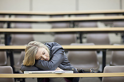 Female student asleep in lecture (Credit Image: © Image Source/Albert Van Rosendaa/Image Source/ZUMAPRESS.com)