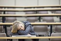 Female student asleep in lecture (Credit Image: © Image Source/Albert Van Rosendaa/Image Source/ZUMAPRESS.com)