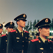 The chinese military outside the Olympic Stadium, Beijing, during the summer Olympic Games. August 8 to August 24, 2008. Photo Tim Clayton