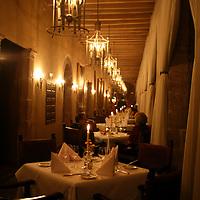 "South America, Peru, Cusco. Illariy restaurant in the Hotel Monasterio in Cusco, voted ""Top 100 World's Best' by Travel & Leisure magazine."
