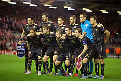 LIVERPOOL, ENGLAND - Thursday, October 22, 2015: Rubin Kazan players line up for a team group photograph before the UEFA Europa League Group Stage Group B match against Liverpool at Anfield. Back row L-R: Majored Ozdoev, Solomon Kverkvelia, Elmir Nabiullin, Marko Dević, goalkeeper Sergei Ryzhikov, Maksim Kanunnikov. Front row L-R: Carlos Eduardo, Ruslan Kambolov, Gökdeniz Karadeniz, Blagoy Georgiev, Oleg Kuzmin. (Pic by David Rawcliffe/Propaganda)