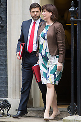 Downing Street,  London, June 27th 2015. Work and Pensions Secretary Stephen Crabb and Education Secretary Nicky Morgan leave the first post-Brexit cabinet meeting at 10 Downing Street.