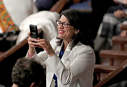 United States Representative Rashida Tlaib (Democrat of Michigan) takes a photo prior to US President Donald J. Trump delivering his second annual State of the Union Address to a joint session of the US Congress in the US Capitol in Washington, DC, USA on Tuesday, February 5, 2019. Photo by Alex Edelman/CNP/ABACAPRESS.COM