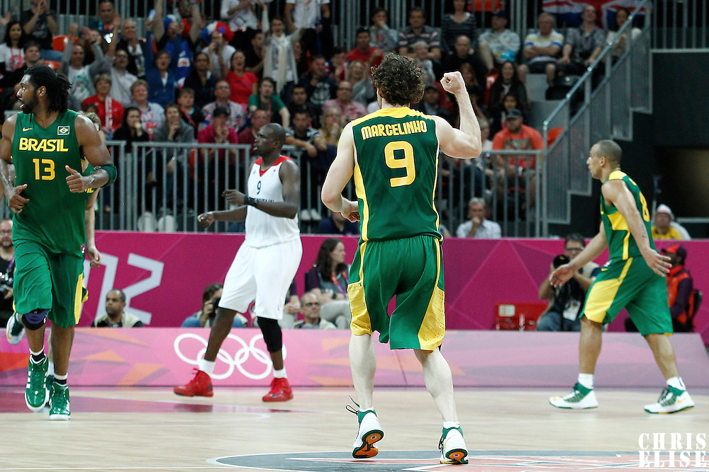 31 July 2012: Brazil Marcelinho Huertas reacts during 67-62 Team Brazil victory over Team Great Britain, during the men's basketball preliminary, at the Basketball Arena, in London, Great Britain.