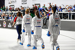 November 10, 2018 - Madrid, Madrid, Spain - Cristina Ferrer, Laura Palacio and Cristina Vizcaino of Spain, Iran Team and Spain Team for the bronce medal and the third place of Female Kumite for Team tournament during the Finals of Karate World Championship celebrates in Wizink Center, Madrid, Spain, on November 10th, 2018. (Credit Image: © AFP7 via ZUMA Wire)