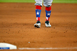 April 29, 2018 - Toronto, ON, U.S. - TORONTO, ON - APRIL 29: The colourful, Texas Lone Star socks of Texas Rangers Center field Delino DeShields (3) as seen as he walks on the infield during the MLB game between the Texas Rangers and the Toronto Blue Jays on April 29, 2018 at Rogers Centre in Toronto, ON. (Photo by Jeff Chevrier/Icon Sportswire) (Credit Image: © Jeff Chevrier/Icon SMI via ZUMA Press)