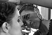 Makeup artist working on details