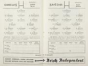 All Ireland Senior Hurling Championship Final,.Programme, .06.09.1953, 09.06.1953, 6th September 1953,.Cork 3-3, Galway 0-8, .Minor Dublin v Tipperary, .Senior Cork v Galway, .Croke Park, 0691953AISHCF,..Cork Senior Team, D Creedon, Goalkeeper, J O'Riordan, Right corner-back, J Lyons, Full-back, A O'Shaughnessy, Left corner-back, M Fouhy, Right half-back, DJ Hayes, Centre half-back, V Twomey, Left half-back, J Twomey, Midfielder, G Murphy, Midfielder, W J Daly, Right half-forward, J Hartnett, Centre half-forward, C Ring, Captain, Left half-forward, T O'Sullivan, Right corner-forward, L Dowling, Centre forward, P Barry, Left corner forward, Substitutes, D. O'Leary, M O'Connor, M Cashman, J Lynam, J Clifford,..Galway Senior Team, S Duggan, Goalkeeper, C Corless, Right corner-back, W O'Neill, Full-back, J. Brophy, Left corner-back, M Burke, Captain, Right half-back, J Molloy, Centre half-back, E Quinn, Left half-back, J Salmon, Midfielder, W Duffy, Midfielder, J Duggan, Right half-forward, H Gordon, Centre half-forward, J Killeen, Left half-forward, M McInerney, Right corner-forward, J Gallagher, Centre forward, P Nolan, Left corner-forward, Substitutes, M J Flaherty, M Glynn, P Duggan, S Ruane, J Craven,..Referee, P Conaill,..Advertisements, Irish Independent,