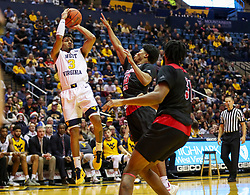 Dec 22, 2018; Morgantown, WV, USA; West Virginia Mountaineers guard James Bolden (3) shoots a jumper during the second half against the Jacksonville State Gamecocks at WVU Coliseum. Mandatory Credit: Ben Queen-USA TODAY Sports