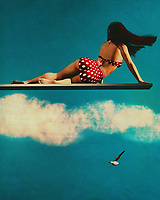 This painting is my favorite painting I have from my fifties retro style. ? The girl is lying on her back on the diving board.<br /> <br /> I have no idea how this painting was supposed to look like but it did so that definitely fits in with the time period of the fifties. This painting is another example of my favorite painting that I have from my fifties retro style. This painting also has the same background as the first painting in this series, the same bright red color for the background, the blue sky and the white clouds.<br /> <br /> In my opinion this is the best painting from the series, it is my favorite out of all the ones I have done in the past twenty years or so. I still get a thrill when I see paintings like this, even twenty years later. All in all this particular painting does not look like it is straight out of the fifties but I really cannot pinpoint where that is. Maybe it's just because the girl in the painting is in a good mood and enjoying the late afternoon sun. Regardless I love this painting and will always consider it one of my favorites, much more so than the ones with the bikini on the diving board.