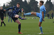 Leeds United defender Oliver Casey challenges for the ball during the U18 Professional Development League match between Coventry City and Leeds United at Alan Higgins Centre, Coventry, United Kingdom on 13 April 2019.
