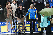 April 14, 2014 - Boston, Massachusetts, USA - <br /> <br /> Boston Marathon Bombing Anniversary<br /> <br /> Hundreds gather at the Boston Marathon finish line in Boston, Massachusetts to mark the one year anniversary of the Boston Marathon Bombing. United States Vice President Joe Biden attended the event. Bombing Survivor Erika Brannock receives a hug from her mother Carol Downing as she crosses the finish line. Erika was injured by the first blast as she was at the finish line cheering her mother Carol Downing on.<br /> ©Exclusivepix