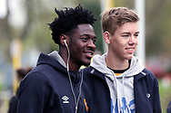 Hull City defender Ola Aina (34) arriving for the match and posing with a Hull City fan prior to  the EFL Sky Bet Championship match between Hull City and Cardiff City at the KCOM Stadium, Kingston upon Hull, England on 28 April 2018. Picture by Mick Atkins.