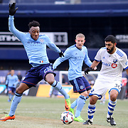 NEW YORK, NEW YORK - March 18:  Rodney Wallace #23 of New York City FC challenged by Victor Cabrera #36 of Montreal Impact during the New York City FC Vs Montreal Impact regular season MLS game at Yankee Stadium on March 18, 2017 in New York City. (Photo by Tim Clayton/Corbis via Getty Images)