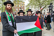 London, United Kingdom, May 11, 2021: Pro-Palestinian Jewish demonstrators attend a protest against Israeli air raids on Gaza Strip as metropolitan police take security measures outside Britain's PM Office in Downing Street central London on Tuesday, May 11, 2021. <br /> Demonstrators opposed Israeli planned evictions of Palestinian families in the Sheikh Jarrah neighbourhood of East Jerusalem. This is the second week of ongoing protests to be held across England. (Photo by Vudi Xhymshiti/VXP)
