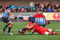 Cardiff Blues' Matthew Rees is tackled by Scarlets' Josh Macleod - Mandatory by-line: Craig Thomas/Replay images - 31/12/2017 - RUGBY - Cardiff Arms Park - Cardiff , Wales - Blues v Scarlets - Guinness Pro 14