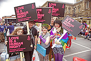 Pro and anti-gay rights demonstrators march in Belfast, NI
