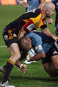 Keven Mealamu runs hard in to Chiefs player Brendon Leonard during the Investec Super 15 Rugby match, Chiefs v Blues, at Waikato Stadium, Hamilton, New Zealand, Saturday 26 March 2011. Photo: Dion Mellow/photosport.co.nz