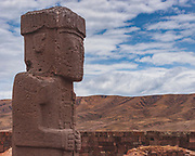Tiwanaku ruins outside of La Paz, Bolivia sits on the Altiplano, at an altitude of 3,850 m / 12,631 ft. One of the oldest and highest cities ever built. Active between 400 A.D. and 900 A.D this was largely an agrarian society with great skills for stone carving and irrigation technology. This statue in the Kalasasaya, open aired temple, thought to have been an observatory.