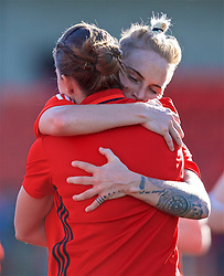 YSTRAD MYNACH, WALES - Wednesday, April 5, 2017: Wales' Jessica Fishlock hugs Loren Dykes after the 3-1 win in the Women's International Friendly match against Northern Ireland at Ystrad Mynach. (Pic by Laura Malkin/Propaganda)
