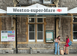 © Licensed to London News Pictures;22/07/2021; Weston-super-Mare, UK. Views of Weston-super-Mare train station. Train services between Bristol and Weston-super-Mare will be reduced from 26 July because of the 'pingdemic', as close contacts of people testing positive with the Covid coronavirus are told to self-isolate after being pinged on their phones by the National Health Service's contact-tracing app and told to isolate for 10 days. Great Western Railways are cutting back on services from Bristol to the popular seaside town due to the number of railway staff having to self-isolate. From Monday 26 July 26 the Bristol to Weston-super-Mare service will be cancelled on weekdays and Saturdays. High speed services from London to Weston and Taunton will still run. Photo credit: Simon Chapman/LNP.