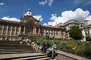 Victoria Square looking towards Birmingham Town Hall in Birmingham, United Kingdom.