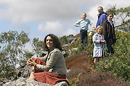 British writer and broadcaster Bettany Hughes pictured in north Wales with her family. Ms Hughes was the author of an acclaimed biography of Helen of Troy which was subsequently made into a television documentary which Ms Hughes presented.