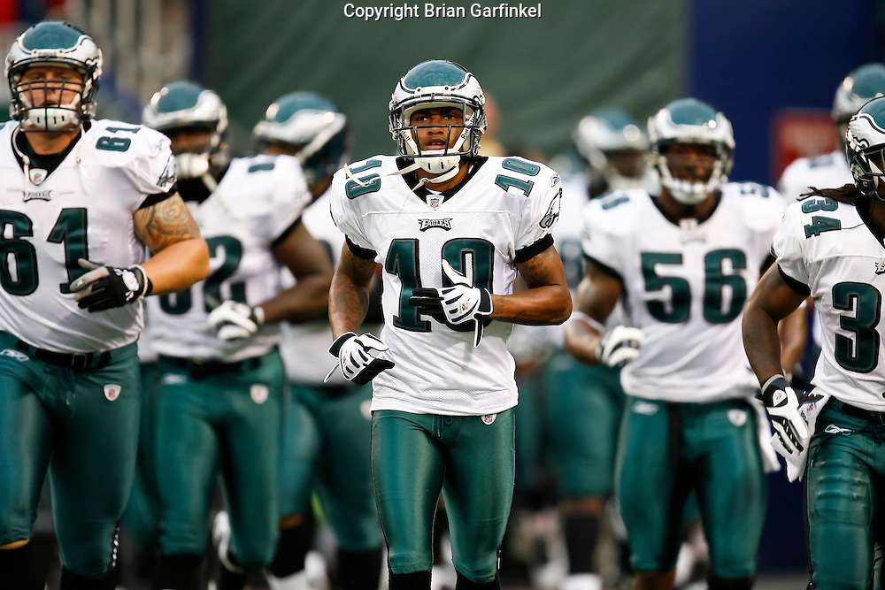 Philadelphia Eagles wide receiver DeSean Jackson #10 enters the field before the NFL game between the Philadelphia Eagles and the New York Jets on September 3rd 2009. The Jets won 38-27 at Giants Stadium in East Rutherford, NJ.  (Photo by Brian Garfinkel)