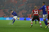 Football - 2019 / 2020 Premier League - Southampton vs. Leicester City<br /> <br /> James Maddison of Leicester City curls in a free kick at St Mary's Stadium Southampton<br /> <br /> COLORSPORT/SHAUN BOGGUST