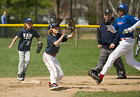 VFW's Mason Dutile awaits a throw to second against Laconia Rotary's Keaton Beck during Major league action on Colby Field Saturday morning for Laconia Little League's opening day.  (Karen Bobotas/for the Laconia Daily Sun)