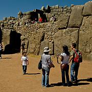 South America, Peru, Cuzco, Cusco, Sacsaywaman, Sacsayhuaman, Saqsaywaman, Historic Sacsaywaman in the hills above Cuzco, Peru.