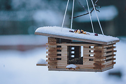 THEMENBILD - ein Vogelhaus mit Neuschnee bedeckt, aufgenommen am 03. Dezember 2020, Kaprun, Österreich // a bird house covered with fresh snow on 2020/12/03, Kaprun, Austria. EXPA Pictures © 2020, PhotoCredit: EXPA/ Stefanie Oberhauser